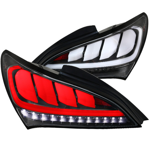 Spec-D Tuning White Bar Sequential LED Tail Lights Matte Black Housing/Clear Lens for Hyundai Genesis '10-'15