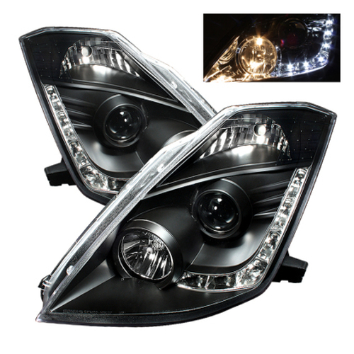 Spyder Nissan 350Z 03-05 Projector Headlights Halogen Model Only - DRL Black PRO-YD-N350Z02-DRL-BK