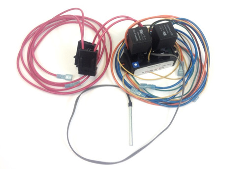 Adjustable Dual Electric Fan Thermostat Kit, w/ relay and AC cir