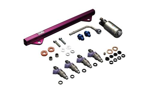 HKS Fuel Upgrade Kit EVO VIII/IX (2003-06); 4 x 800cc injectors, upgraded fuel pump, extension adapters & connectors