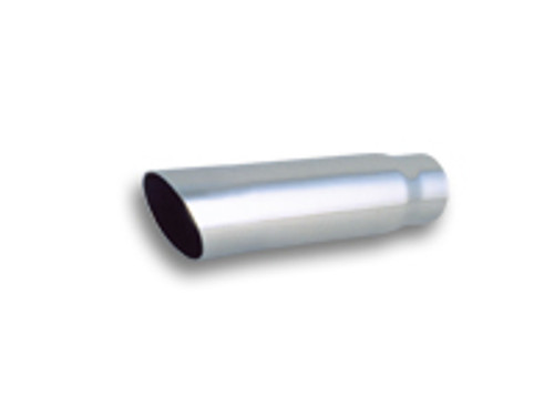 """Vibrant Performance - 3.5"""" Round Stainless Steel Tip (Single Wall, Angle Cut) - 3"""" inlet, 11"""" long"""