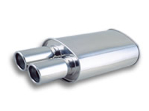 """Vibrant Performance - STREETPOWER Oval Muffler w/ Dual 3.5"""" Round Tips (2.5"""" inlet)"""