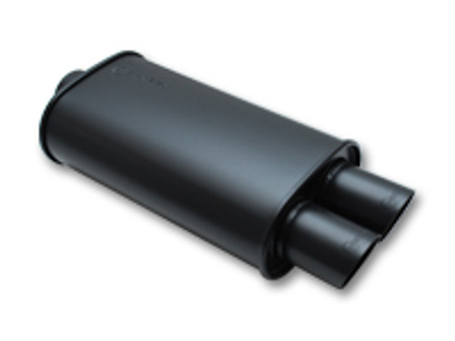 """Vibrant Performance - STREETPOWER FLAT BLACK Oval Muffler with Dual Tips (4"""" inlet)"""