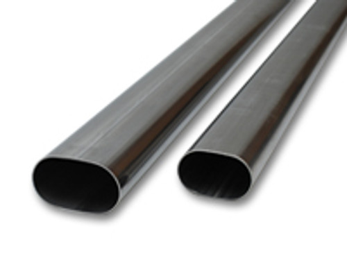 """Vibrant Performance - 4"""" Oval (nominal) T304 Stainless Steel Straight Tubing - 5 feet long"""