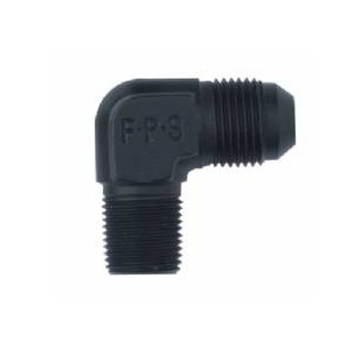 Fragola - Adapter, 90 Degree, Male -3 An To Male 1/8 In. Npt, - Aluminum, Black Anodized