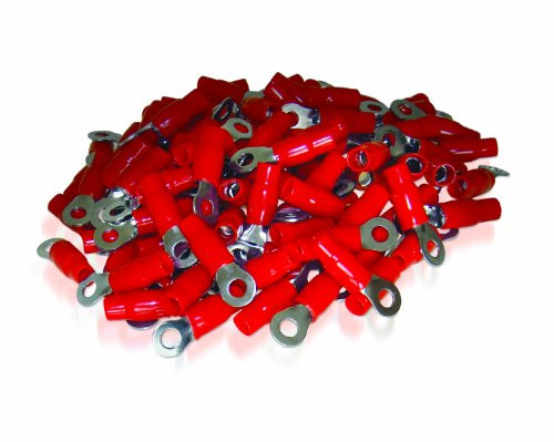 XS Power Batteries - 0 AWG Ring Terminal, Crimp, 10.5mm Screw Hole, Nickel Finish with Red Boot, 100 Pack