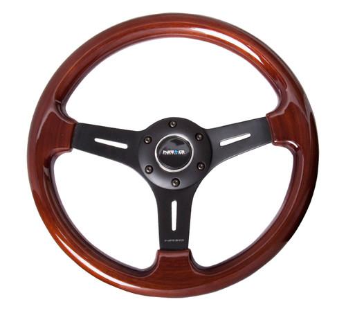 NRG 330mm Classic Wood Grain Wheel Black Spokes