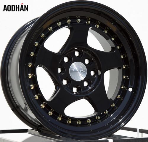 AODHAN Wheels AH01 15x8 +20 4x100/114.3 Full Black ( Gold Rivet)