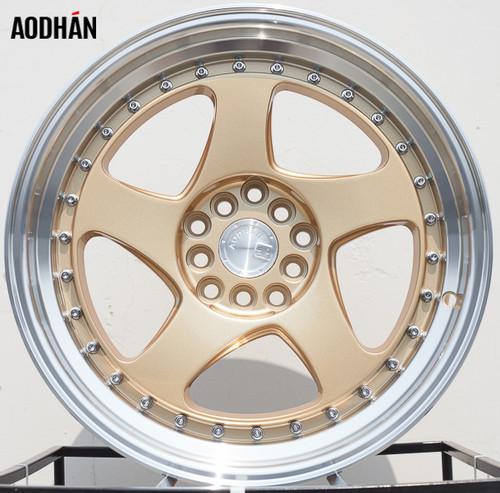 AODHAN Wheels AH01 15x8 +20 4x100/114.3 Gold Machined Lip