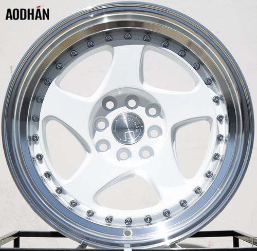 AODHAN Wheels AH01 15x8 +20 4x100/114.3 White Machined Lip