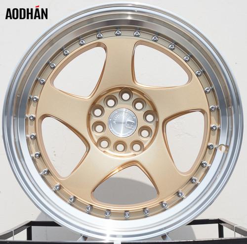 AODHAN Wheels AH01 16x8 +15 4x100/114.3 Gold Machined Lip