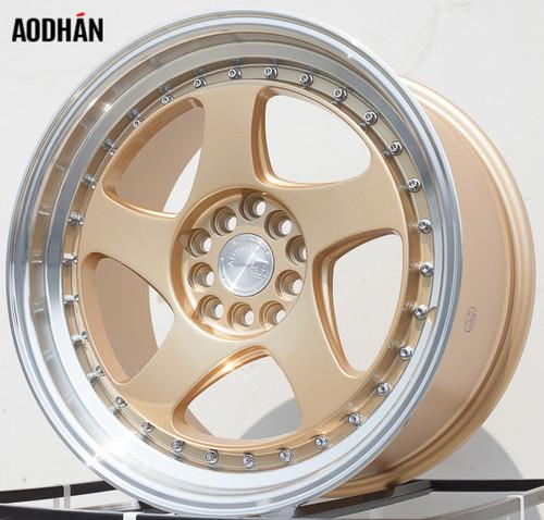 AODHAN Wheels AH01 17x9 +25 5x100/114.3 Gold Machined Lip