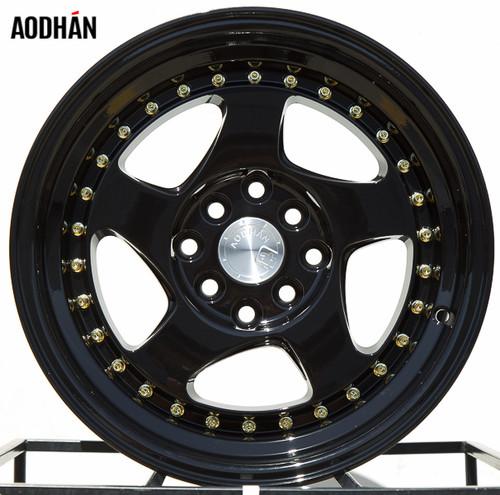AODHAN Wheels AH01 18x9.5 +30 5x114.3 Full Black (Gold Rivet)