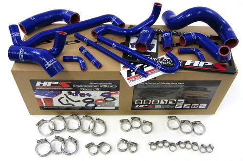 HPS Performance Blue Reinforced Silicone Radiator and Heater Hose Kit Coolant for BMW 88-91 E30 M3 Left Hand Drive