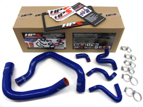 HPS Performance Blue Reinforced Silicone Radiator and Heater Hose Kit Coolant for Ford 86-93 Mustang GT / Cobra