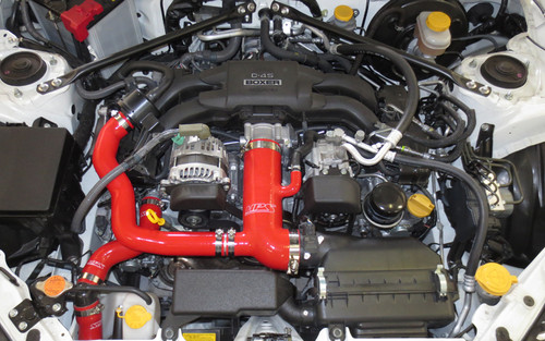 HPS Performance Red Reinforced Silicone Post MAF Air Intake Hose + Sound Tube 2pc Kit for Scion 13-15 FRS