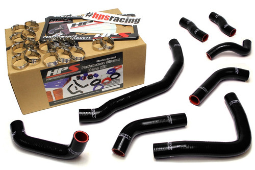 HPS Performance Black Reinforced Silicone Coolant Hose Complete kit (8pc) for front radiator + rear engine for Toyota 90-99 MR2 3SGTE Turbo