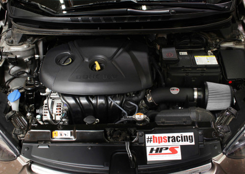 HPS Black Shortram Air Intake + Heat Shield for 11-16 Hyundai Elantra 1.8L