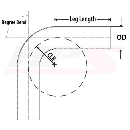 "HPS Performance 2.5"" OD 70 Degree Bend 6061 Aluminum Elbow Pipe 16 Gauge w/ 2 1/2"" CLR"