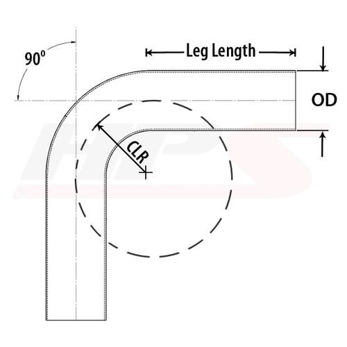 "HPS Performance 1.5"" OD 90 Degree Bend 6061 Aluminum Elbow Pipe 16 Gauge w/ 2"" CLR"