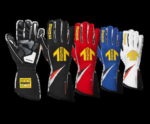Momo Gloves -Corsa R, External Stitch, Precurved, Size 10, Blue, FIA 8856/2000