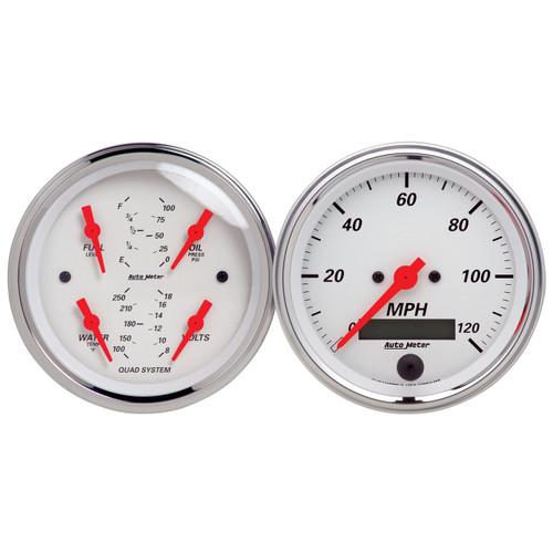 """AutoMeter Gauge Kit 2 Pc. Quad & Speedometer 3 3/8"""" Arctic White"""