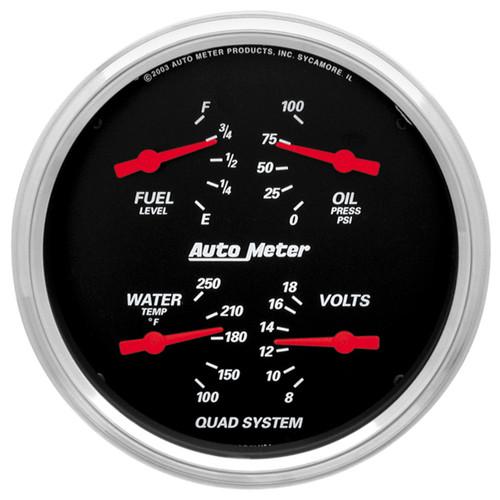 "AutoMeter Gauge Quad 5"" 240Ωe-33Ωf Elec Designer Black"