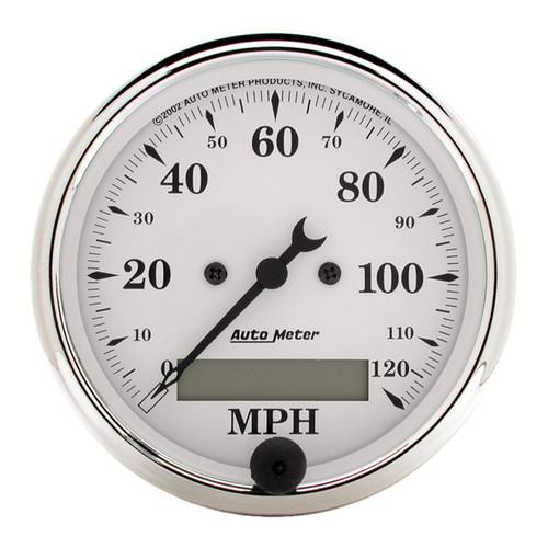 "AutoMeter Gauge Speedo. 3 1/8"" 120Mph Elec. Prog. W/ Lcd Odo Old Tyme White"