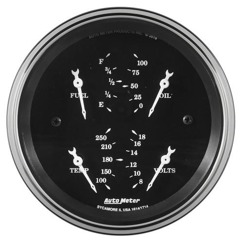 """AutoMeter GaugeQuad 3 3/8"""" 240Ωe-33Ωf Elec Old Tyme Blk"""