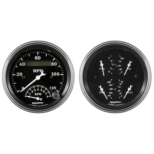 "AutoMeter Gauge Kit 2 Pc. Quad & Tach/Speedo 3 3/8"" Old Tyme Black"