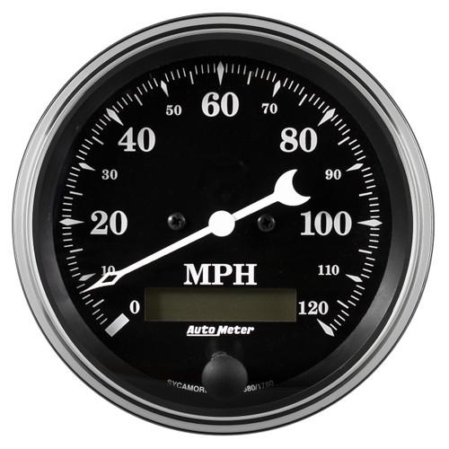 "AutoMeter Gauge Speedo. 3 3/8"" 120Mph Elec. Prog. W/ Lcd Odo Old Tyme Black"