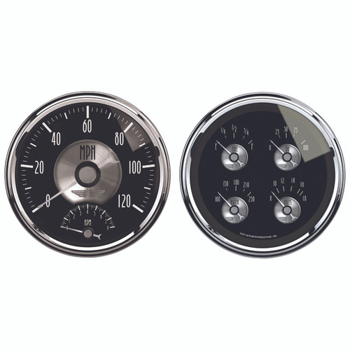 "AutoMeter Gauge Kit 2 Pc. Quad & Tach/Speedo 5"" Prestige Blk. Diamond"