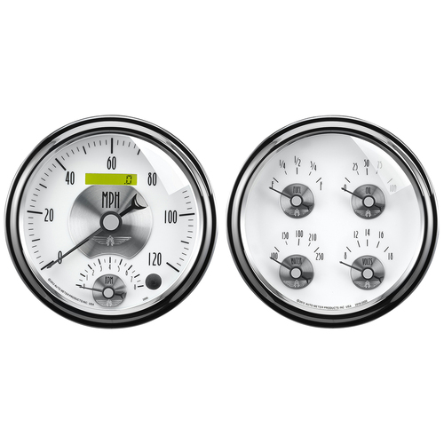 "AutoMeter Gauge Kit 2 Pc. Quad & Tach/Speedo 5"" Prestige Pearl"