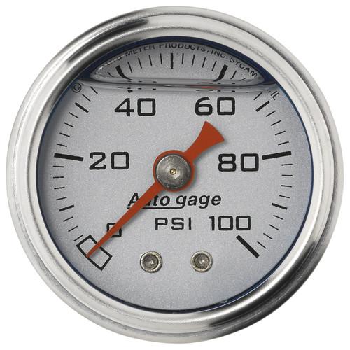 """AutoMeter Gauge Press 1.5"""" Direct Mnt 100Psi Liquid Filled Mech Slvr 1/8"""" nptf Male"""