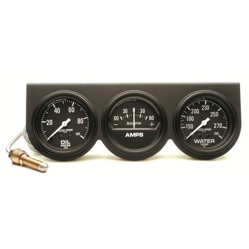 """AutoMeter Gauge Console Oilp/Wtmp/Amp 2 5/8"""" 100Psi/280ºf/60A Blk Dial Blk Bzl Ag"""