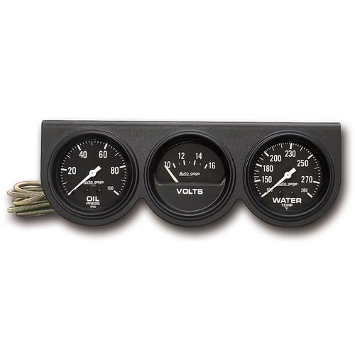 """AutoMeter Gauge Console Oilp/Wtmp/Volt 2 5/8"""" 100Psi/280ºf/16V Blk Dial Blk Bzl Ag"""