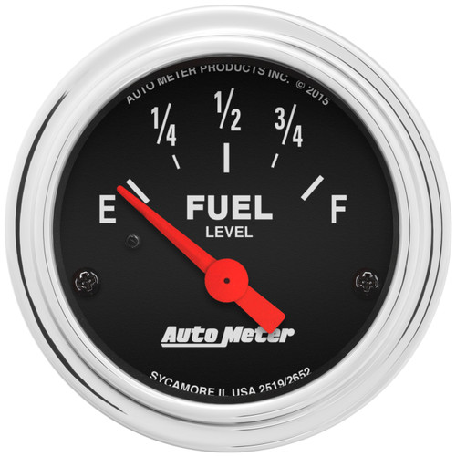 """AutoMeter Gauge Fuel Level 2 1/16"""" 73Ωe To 10Ωf(Aftermarket Linear) Elec Trad Chrome"""