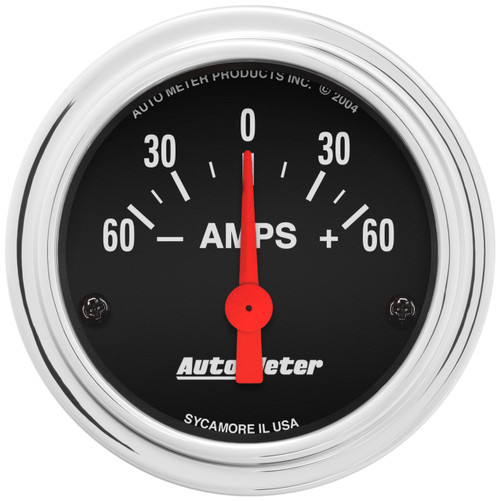 """AutoMeter Gauge Ammeter 2 1/16"""" 60A Electric Traditional Chrome"""