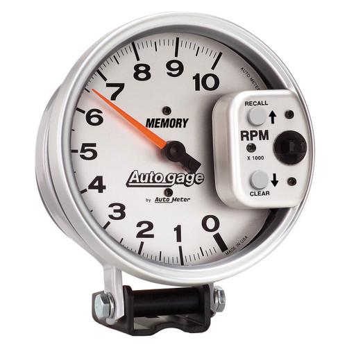 "AutoMeter Gauge Tachometer 5"" 10K Rpm Pedestal W/ Peak Memory Silver Auto Gage"