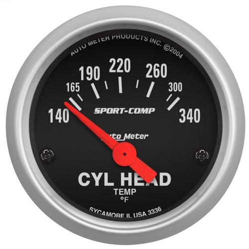 "AutoMeter Gauge Cylinder Head Temp 2 1/16"" 140-340ºf Electric Sport-Comp"