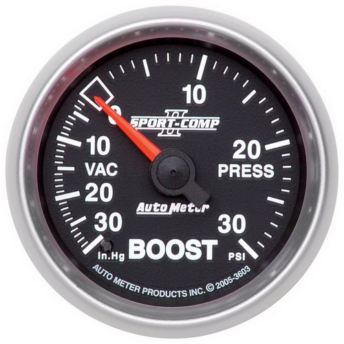 "AutoMeter Gauge Vac/Boost 2 1/16"" 30Inhg-30Psi Mechanical Sport-Comp Ii"