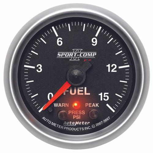 "AutoMeter Gauge Fuel Press 2 1/16"" 15Psi Digital Stepper Mtr W/Pk & Wrn Sport-Comp Ii"