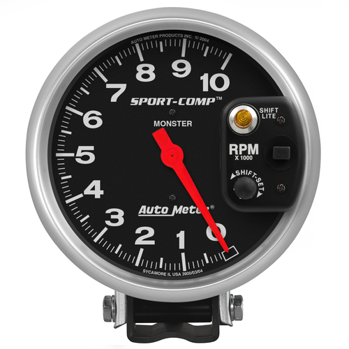 "AutoMeter Gauge Tachometer 5"" 10K Rpm Pedestal W/ Int. Shift-Lite Sport-Comp"