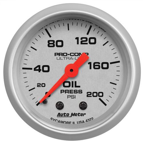 "AutoMeter Gauge Oil Pressure 2 1/16"" 200Psi Mechanical Ultra-Lite"