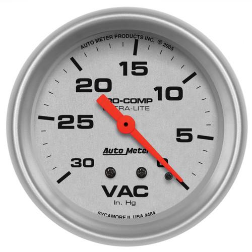 "AutoMeter Gauge Vacuum 2 5/8"" 30Inhg Mechanical Ultra-Lite"