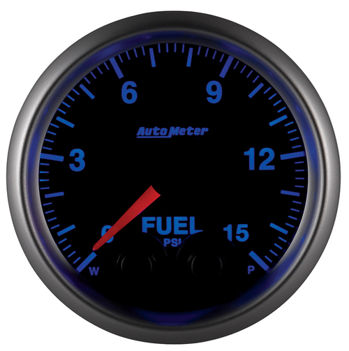 "AutoMeter Gauge Fuelp 2 1/16"" 15Psi Stepper Motor W/Peak & Warn Elite W/O Sensor"