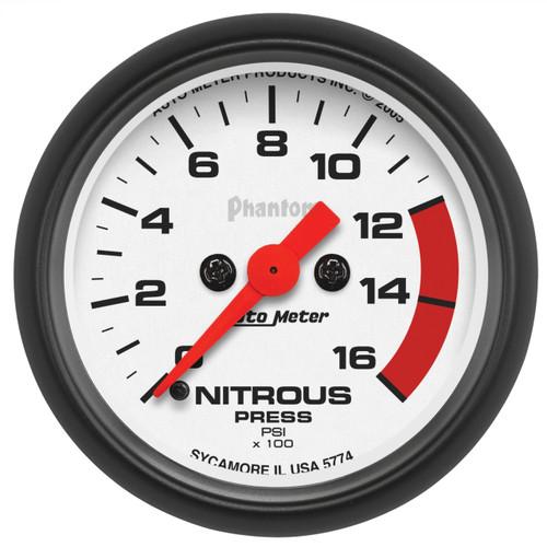 "AutoMeter Gauge Nitrous Pressure 2 1/16"" 1600Psi Digital Stepper Motor Phantom"