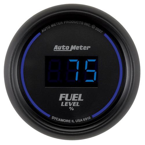 "AutoMeter Gauge Fuel Level 2 1/16"" 0-280Ω Programmable Digital Black Dial W/ Blue Led"