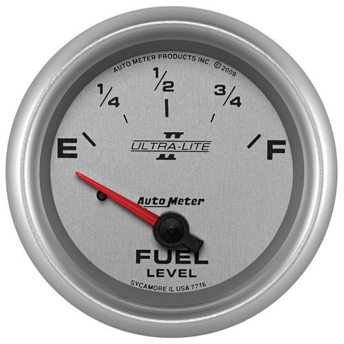 "AutoMeter Gauge Fuel Level 2 5/8"" 240Ωe To 33Ωf Elec Ultra-Lite Ii"