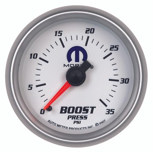 "AutoMeter Gauge Boost 2 1/16"" 35Psi Mechanical White Mopar"
